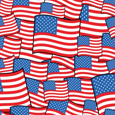 Seamless pattern of american flags with clipping path clip art vector
