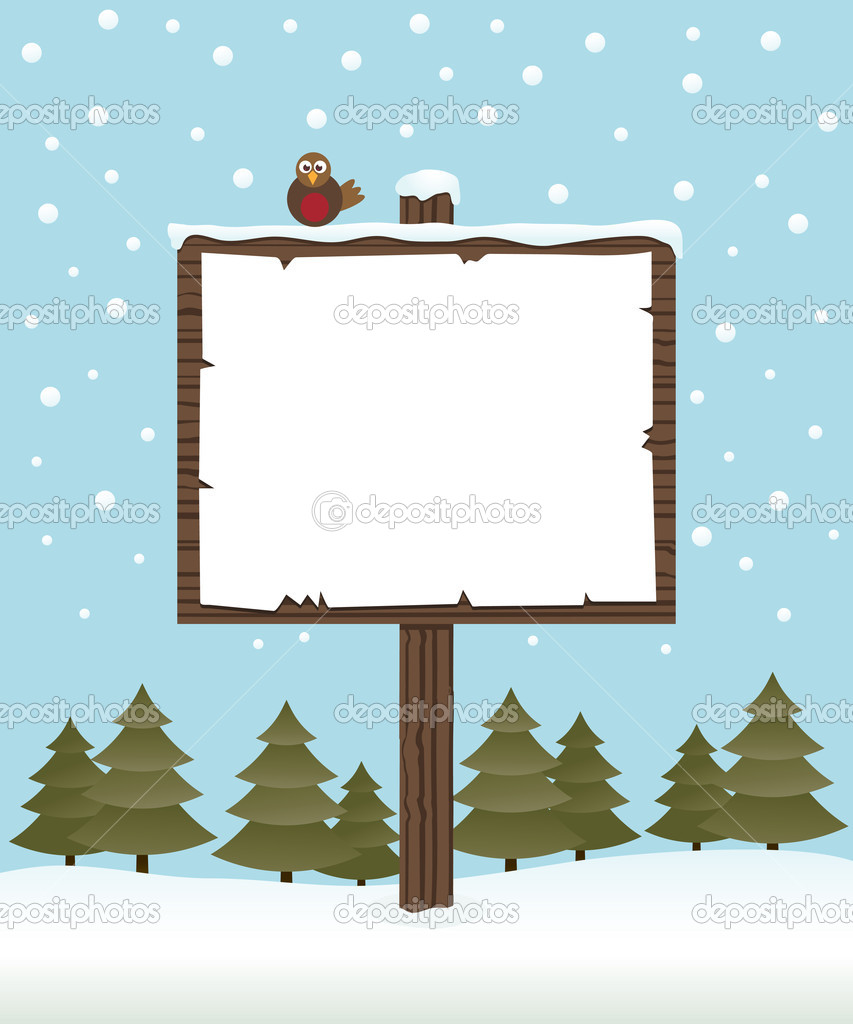 Winter sign post
