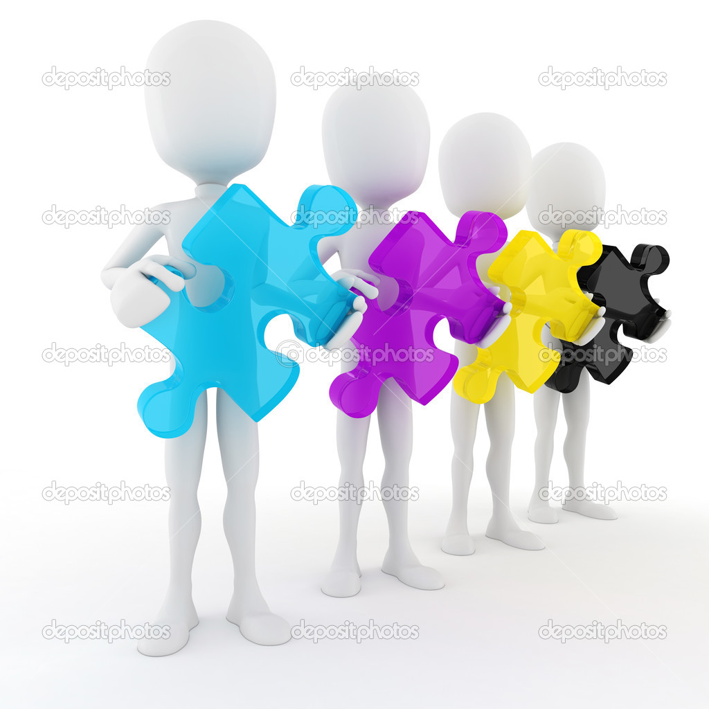 Cymk Puzzle 3d Man Holding Colorful Cmyk Puzzle Pieces On White