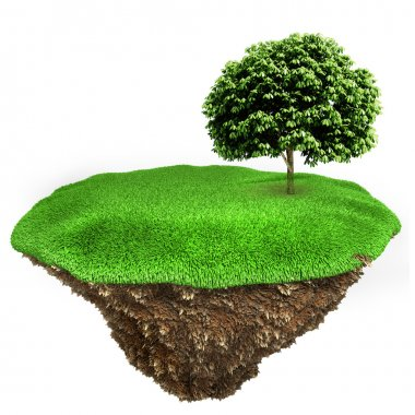 3d little piece of land with fresh green grass on white background