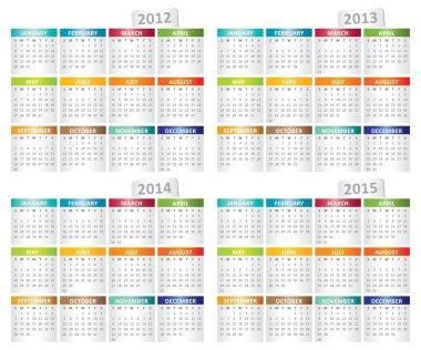 Calendar for 2012, 2013, 2014, 2015 year