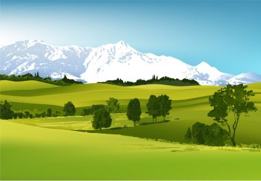 Green landscape with high mountains