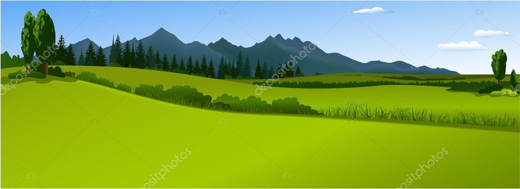 Vector background with green country landscape stock vector