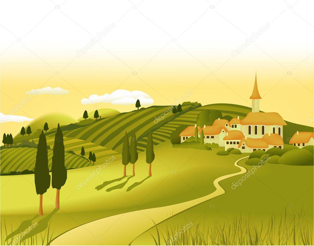 Town Landscape Vector Illustration: Rural Landscape With Little Town
