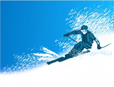 Winter sport background with skier stock vector