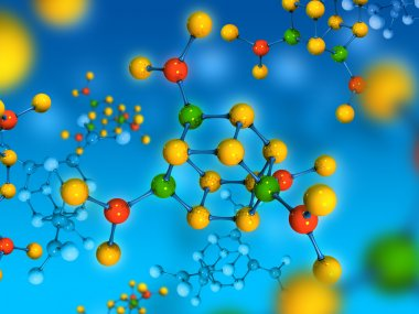 Molecule isolated on blue