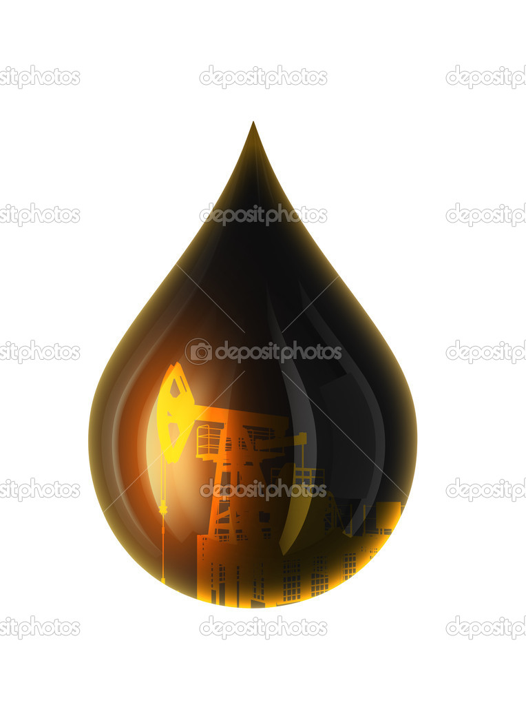 Oil Drop Isolated on white. 3D render.