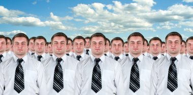 Many identical businessmen clones