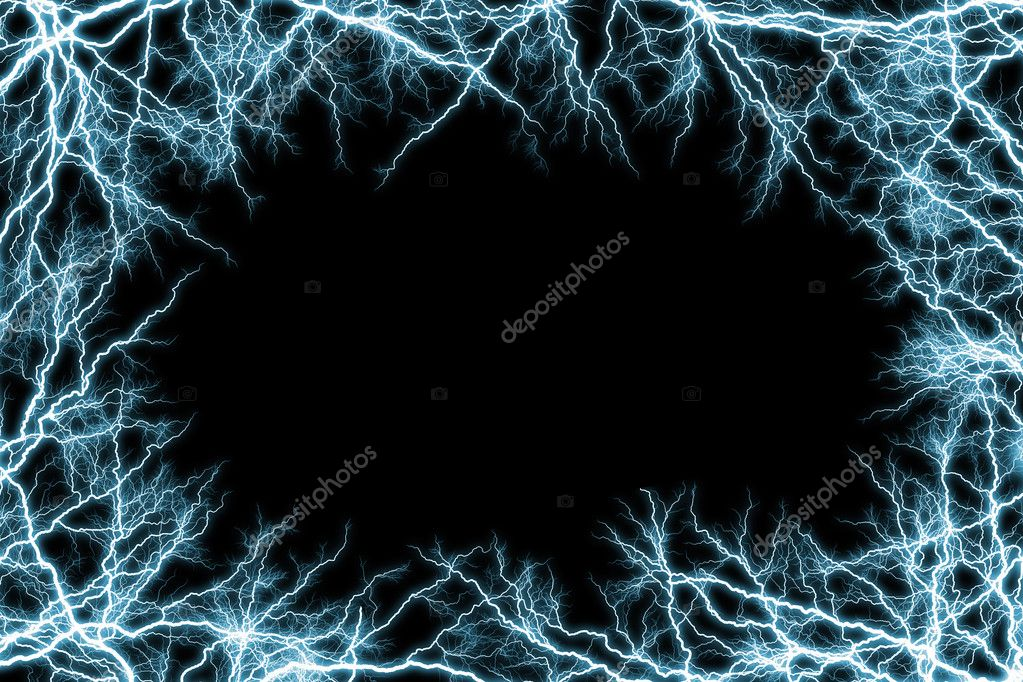 Frame of blue lightnings
