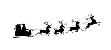 Silhouette of Santa and his reindeers