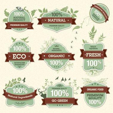 Set of Natural Premium Quality Labels