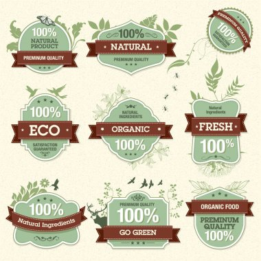 Set of vector natural premium quality labels stock vector