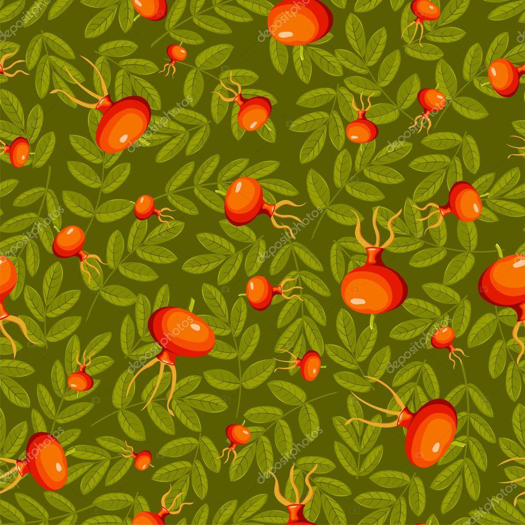 Rose hip seamless green pattern.