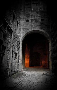 Dark courtyard (Edinburgh, Scotland) stock vector