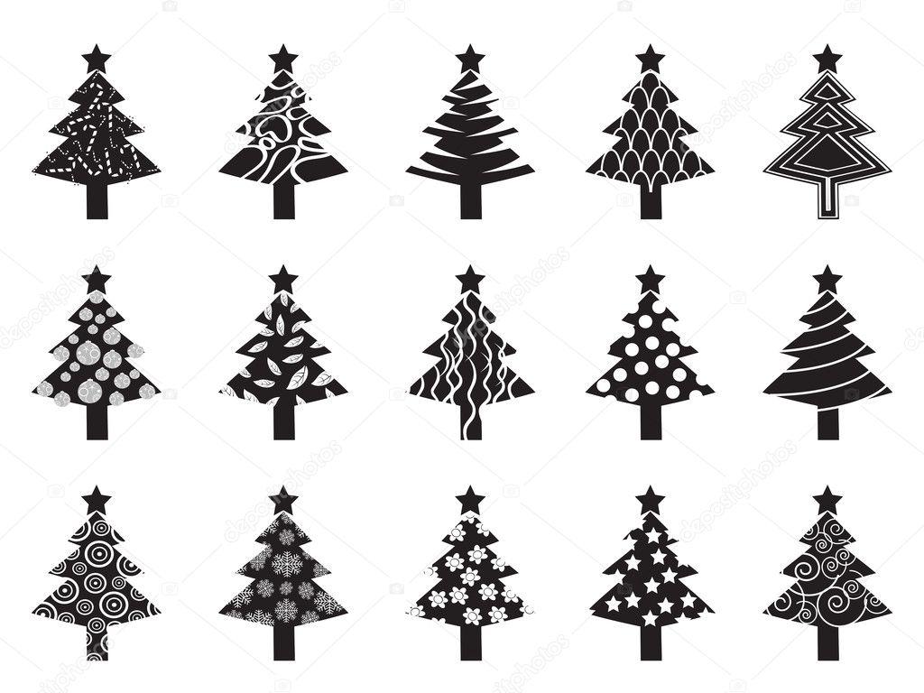 black xmas tree icon set u2014 stock vector huhulin 7917612