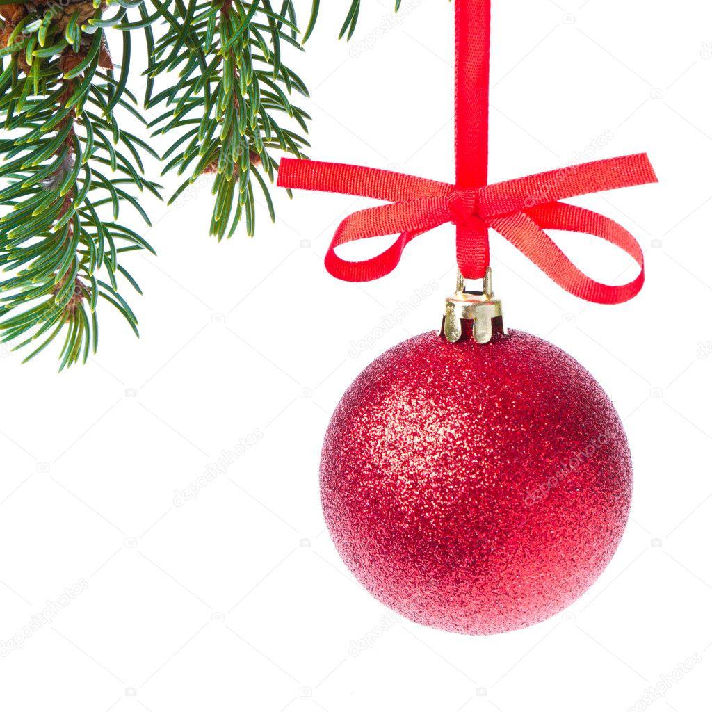 Bola navidad roja colgando del rbol fotos de stock - Bola arbol navidad ...