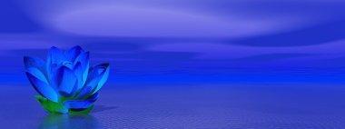 Lily flower in blue indigo ocean