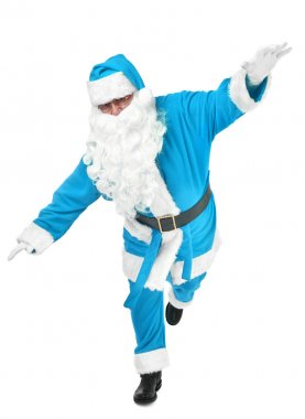Funny pose of blue santa claus on white background stock vector