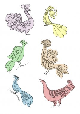 Drawing craft birds silhouettes
