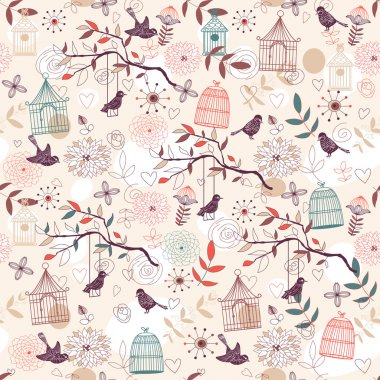 Nature Pattern with birds, birdcages, plants, flowers. Vector. stock vector