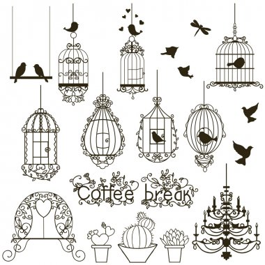 Vintage birds and birdcages collection. Isolated on white. Clipart. Vector. stock vector