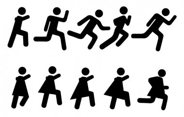 Running - vector pictograms