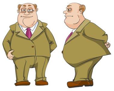 Cartoon illustration of funny rich man character. stock vector