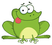 Happy frog kreslená postavička