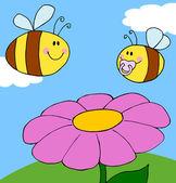 baculatý dítě bee a dospělých včel nad květinu za slunečného dne