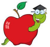 Fotografia studente felice verme in una mela