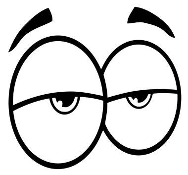 Outlined Sad Cartoon Eyes