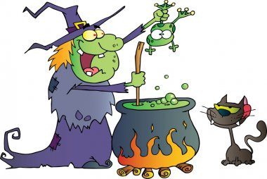 Cat Watching An Ugly Halloween Witch Holding A Frog Over A Cauldron
