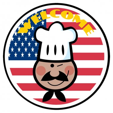 Black Chef Face Over An American Flag Circle