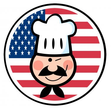 Chef Face Over An American Flag Circle