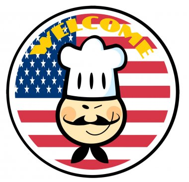 Asian Chef Face Over An American Flag Circle