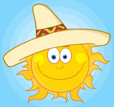 Happy Sun Wearing A Sombrero In A Blue Sky stock vector