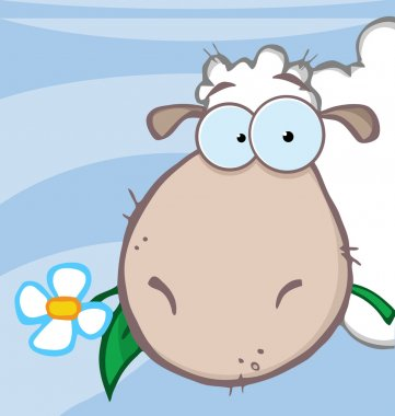 "Картина, постер, плакат, фотообои ""овцы едят цветок поверх голубого "", артикул 7276781"