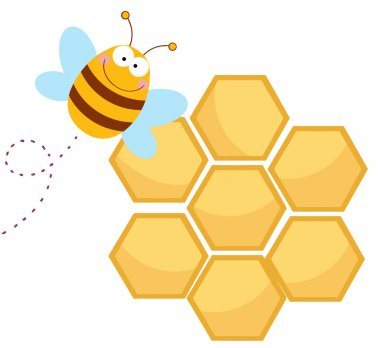 Happy Bee By A Honeycomb