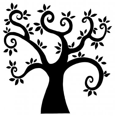 Abstract Silhouetted Curly Branched Tree Cartoon Character stock vector