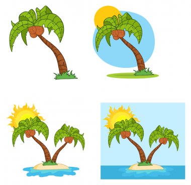 Set Of Cartoon Palm Tree