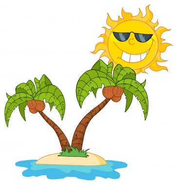 Cartoon Island With Two Palm Tree And Sun stock vector