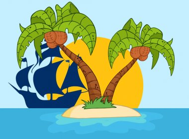 Island With Two Palm Tree And Pirate Ship