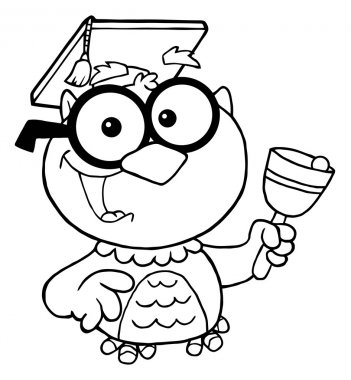 Outlined Professor Owl Ringing A Bell