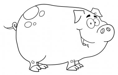 Outlined Smiling Piggy