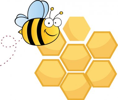 Happy Bee Over Honey Combs