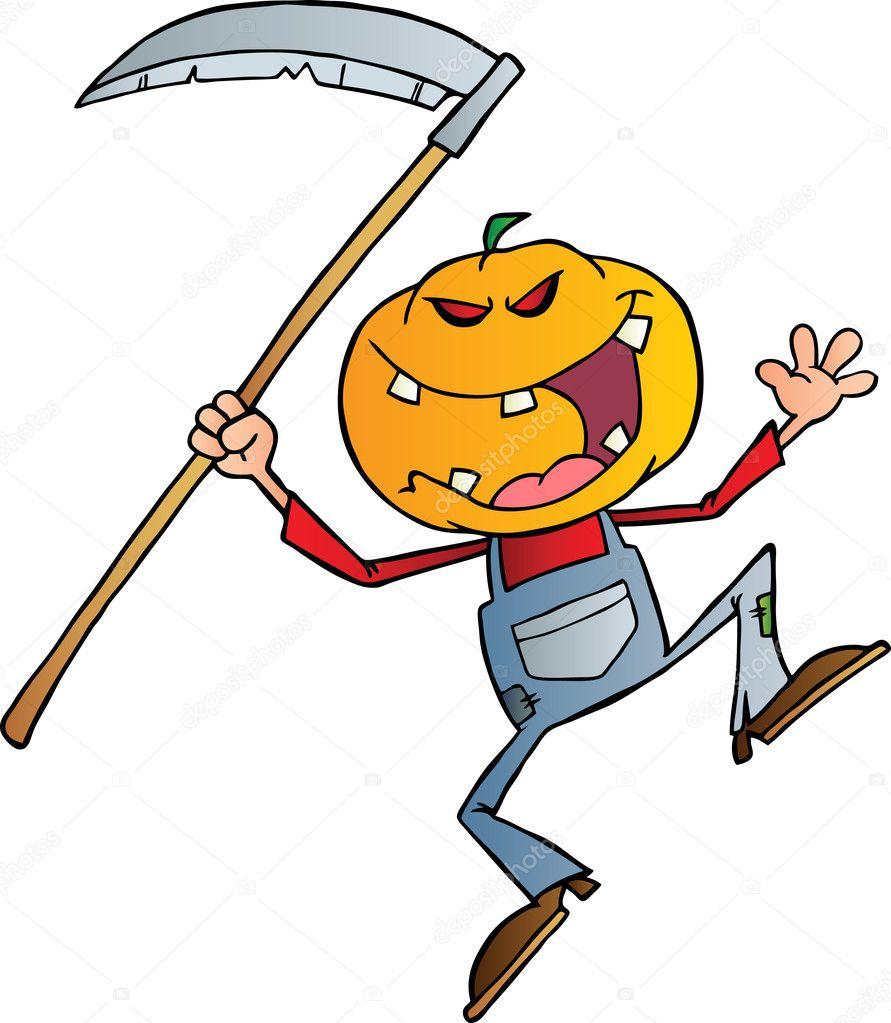 Halloween Pumpkin Head Jack With A Scythe Photo By HitToon