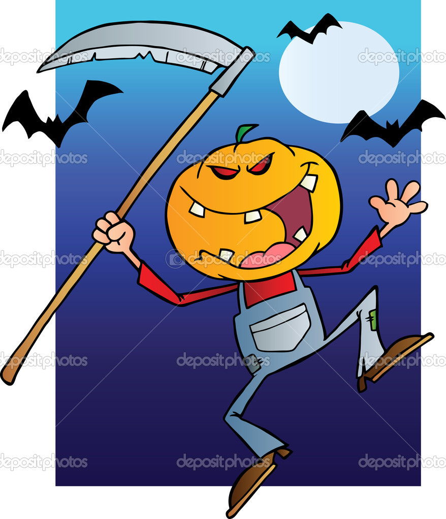 Grinning Scarecrow Reaper With Scythe In Halloween Night