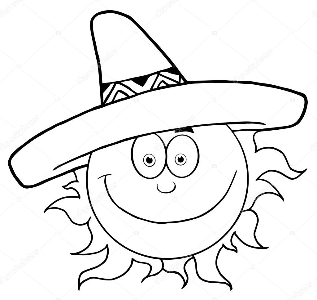 26278471cd7 Outline Of A Happy Sun Wearing A Sombrero — Stock Photo © HitToon ...