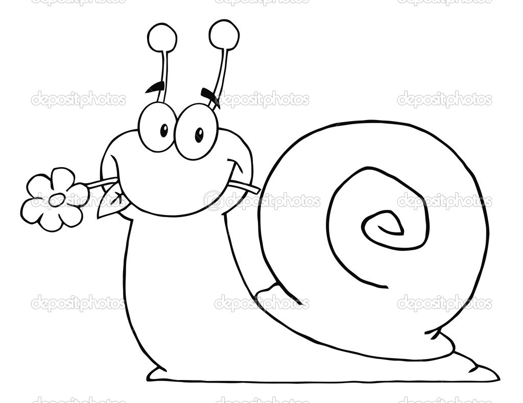 Outlined Snail Eating A Flower — Stock Photo © HitToon ...