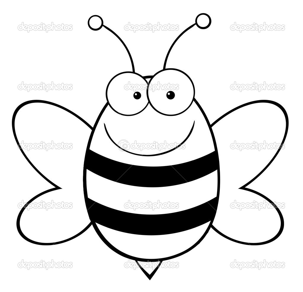 Outlined Happy Bee — Stock Photo © HitToon #7276826